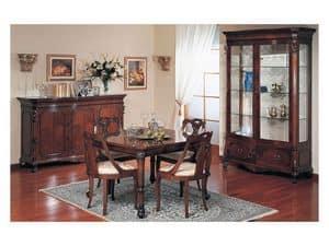 Art. 972 display cabinet '700 Siciliano, Hand geschmückter Schaufenster, für klassischen Stil Wohnzimmer