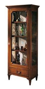 Bourges VS.6528, Walnuss-Anzeigeschrank mit 1 Tür und 1 Schublade, geometrische Inlays, zurück in Stoff, Holzregale, für Umgebungen in klassischen Luxus-Stil