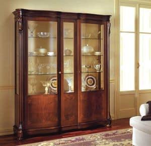 Canova Vitrine, Klassische Vitrine mit Seitentüren mit gebogenem Glas