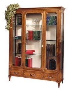 Cognac VS.6531.A, Vitrinen in Nussbaum, mit einem mittleren Tür, 3 Schubladen, Rücken aus Stoff, Kristallregalen bedeckt, für Umgebungen in klassischen Luxus-Stil