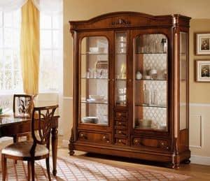 D'Este Schaufenster, Klassische Nussbaum Vitrine mit 2 Türen, verschiedene Versionen
