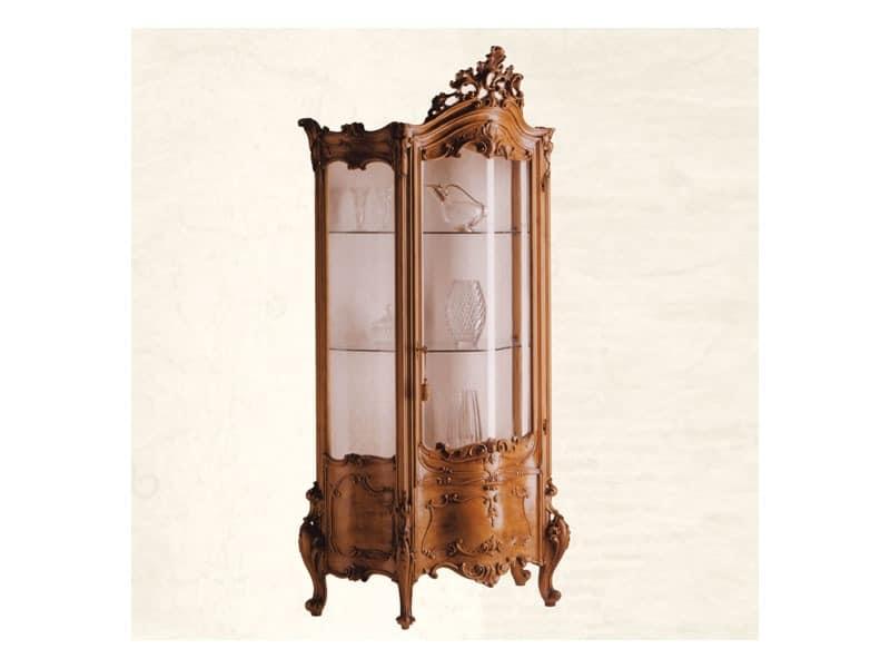 Display Cabinet art. 05, Showcase aus massivem Holz mit gebogenem Glas, Barock