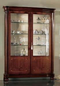 Gardenia Vitrine 2 Türen, Klassische Vitrine mit zwei Türen und Innenbeleuchtung