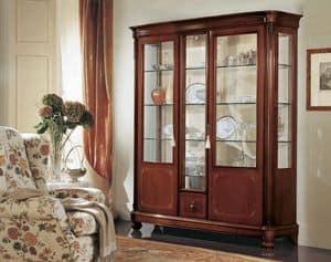 Gardenia Vitrine 3 Türen, Vitrine mit 3 Türen, mit gebogenem Glas, im klassischen Stil