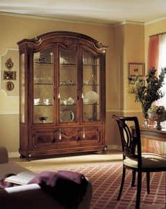 GRANDUCATO / Showcase mit 3 Türen, Traditionelle Display mit 3 Türen in Nussbaum Holz geschnitzt