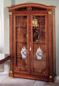 IMPERO / Display cabinet with 2 doors, Luxus Vitrine aus Asche, klassischen Stil gemacht