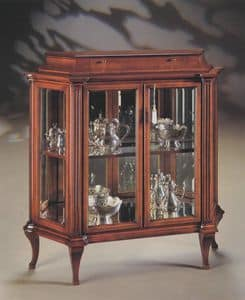 Oxford Art.513 Glasschrank mit Schublade, Vitrine mit gemahlenen Kristalle und Spiegel zurück