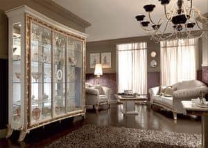 Raffaello Vitrine mit 3 Türen, Vitrine mit klassischen Stil, mit elegantem Design mit Serigraphien in goldenen Pulver eingerichtet, für den luxuriösen Speisesaal