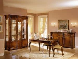 REGINA NOCE / Vitrine 2 Türen mit festen zentralen Stelle, Klassische Vitrine mit zwei Türen, für luxuriöses Wohnen