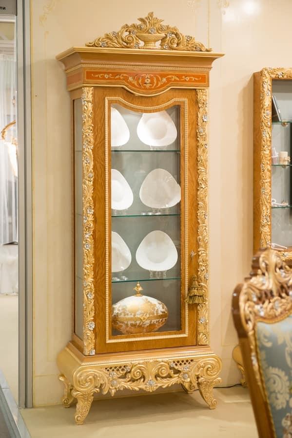 vitrine mit 1 tür, in holz geschnitzt, für wohnzimmer | idfdesign, Wohnzimmer