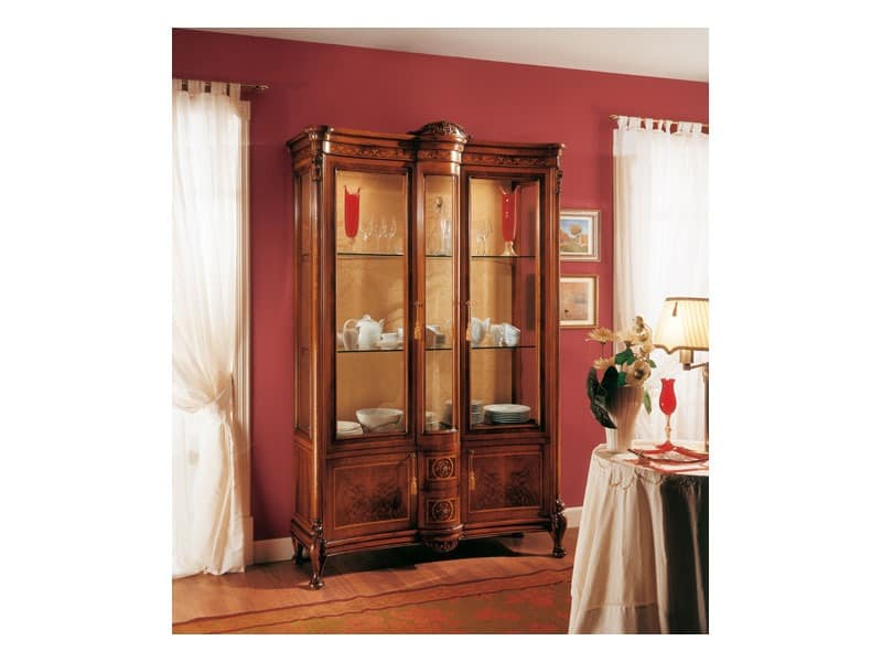 ROYAL NOCE / Showcase 2 doors with fixed central body, Wooden handmade Vitrine, f�r Aufenthalte