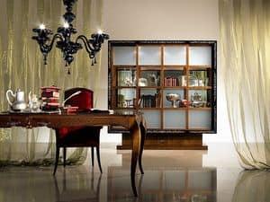 VL19 Quadro, Bibliothek Vitrine mit Schiebetüren, Einlegearbeiten aus Holz