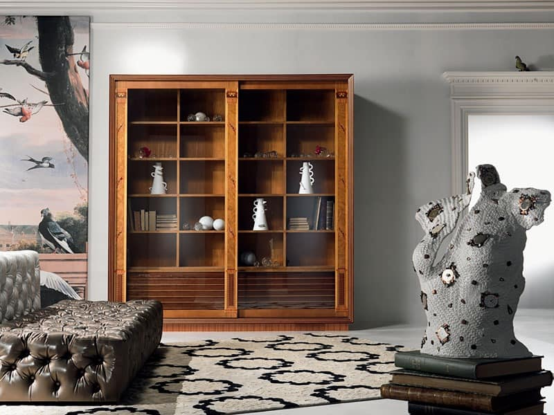 bibliothek vitrine mit einlage schiebet ren f r wohnzimmer idfdesign. Black Bedroom Furniture Sets. Home Design Ideas