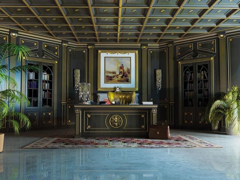 klassische designer mobel von turati boiseries, luxus boiserie mit kassettendecke | idfdesign, Design ideen
