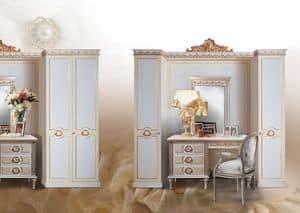 Daisy, Klassischer Kleiderschrank weiß lackiert mit Blattgold Verzierungen