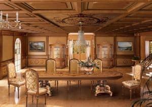 F604 Boiserie, Intarsien Täfelung in klassischen Luxus-Stil für Esszimmer