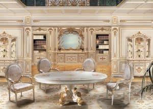 F850 Boiserie, Weiß lackierten Holzverkleidungen, für Lounges in klassischen Luxus