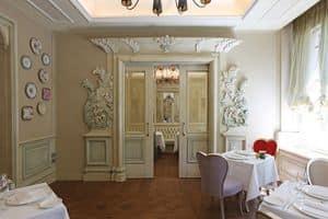 Weisser Holzverkleidung, Weiß lackierten Holzverkleidungen, kostbare Schnitzereien Handarbeit, für die prestigeträchtigen Hotels und Villen