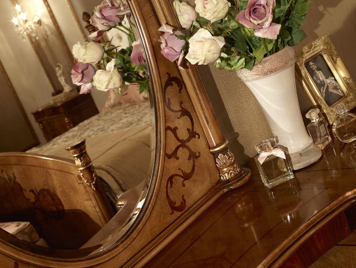 schminktisch mit spiegel furniert esche rosenholz und. Black Bedroom Furniture Sets. Home Design Ideas