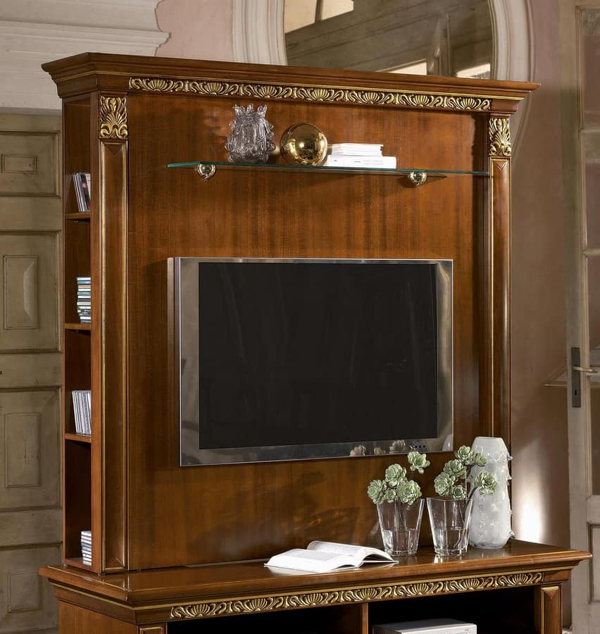 tv st nder mit regalen in luxuri sen klassischen stil idfdesign. Black Bedroom Furniture Sets. Home Design Ideas