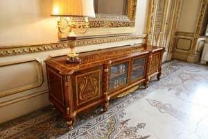 Art. 631/TV, TV-Schrank, klassisch luxuriösen Stil, mit Schnitzereien und Intarsien