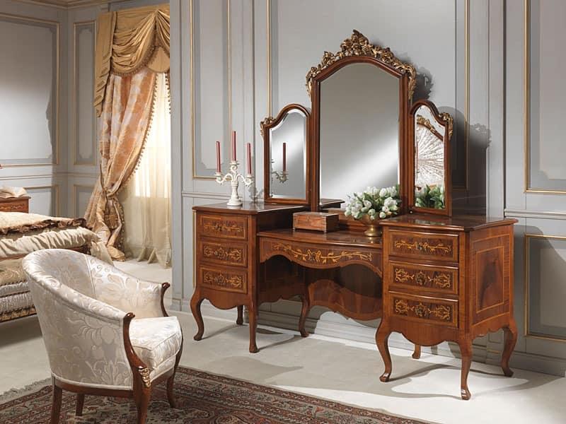 Art. 940 toilette, Schminktisch mit Speichereinheit, Walnuss, Luxus klassischen Stil
