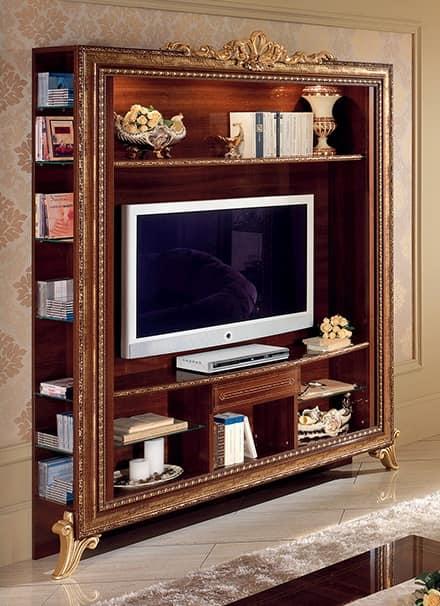 TV-Ständer mit Bücherregal mit goldenen Verzierungen, einfach und ...