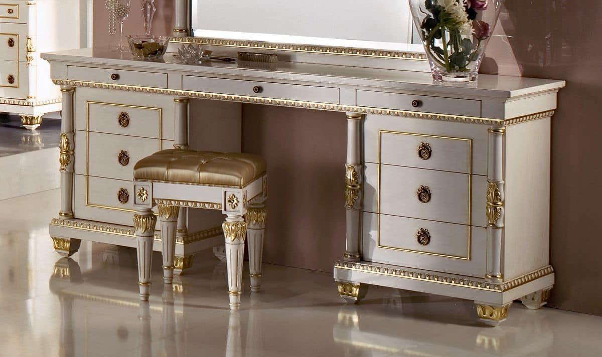 Schminktisch mit 9 schubladen geschnitzt details mit blattgold verziert f r die schlafzimmer - Schlafzimmer mit schminktisch ...