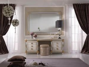Liberty Schminktisch, Schminktisch mit praktischen Rollzug mit dekorativen Spiegel, klassischen Stil ausgeschmückt und von Hand verziert