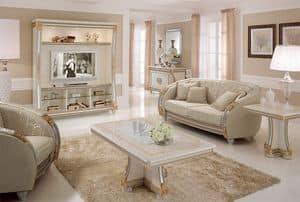 Liberty Schrankwand, TV Wand mit klassischen Linien, ideal für die Dekoration Luxus- Wohnzimmer, mit Details in Blattgold