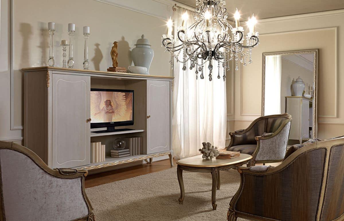 TV-Möbel, im klassischen Stil, aus Holz von Hand verziert | IDFdesign