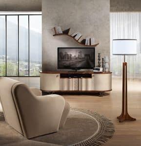 MB57 Mistral  TV-Möbel, TV-Schrank aus Holz mit Leder, Stahl Beine bedeckt
