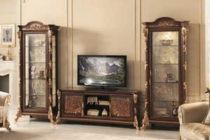Sinfonia mobile TV, TV-Ständer mit Vitrine, mit Blattgold Dekorationen