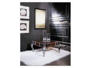 MIMì quadro small table 8319T, Quadratischen Couchtisch aus Holz, verziert oben, für Wohnzimmer