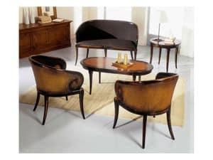 TOFEE round table 8179TL, Runder Couchtisch aus Massivholz, klassischen Stil