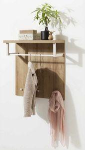 Appendiabiti Con Piano Portatutto In Legno Design Moderno, Aufhänger mit Holzplatte