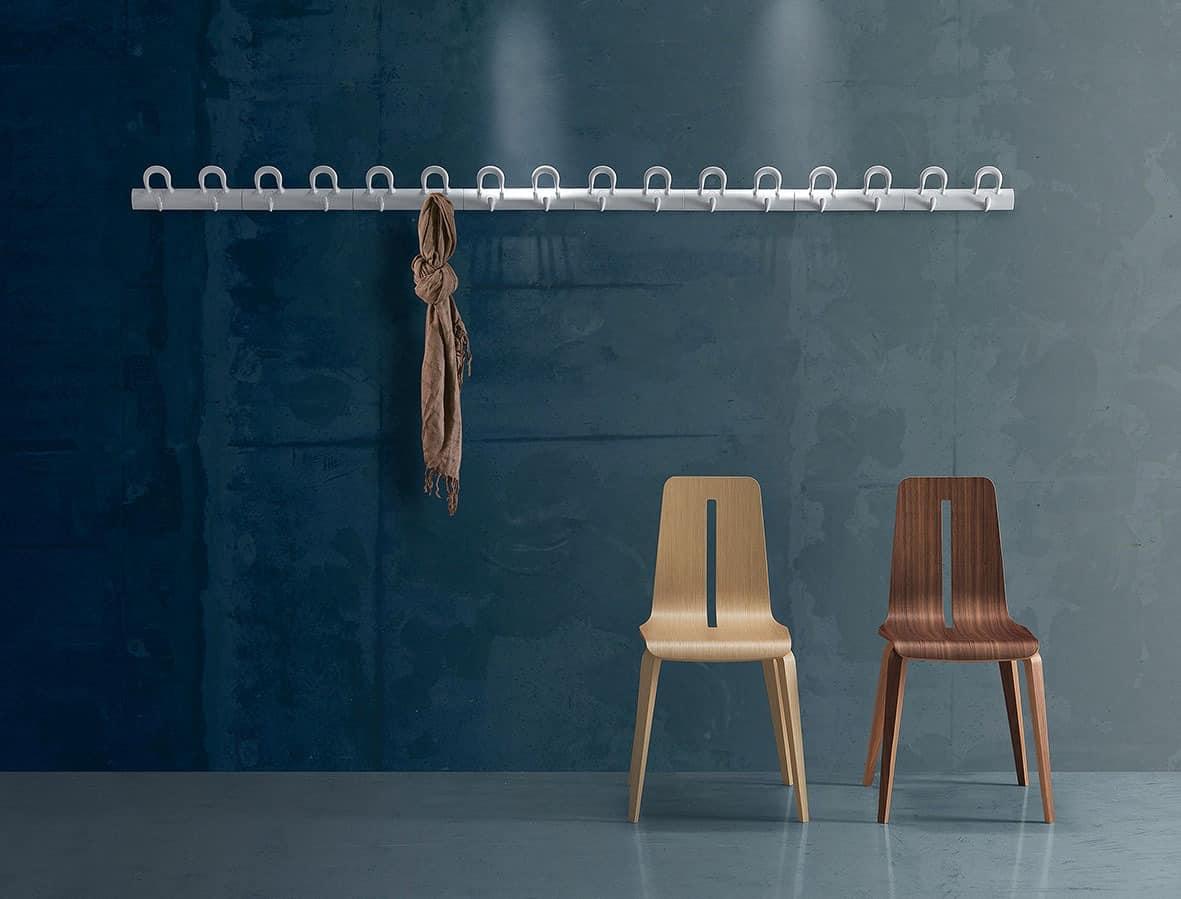 Duo wall-mounted coat-hooks, Modulare Wandgarderobe in Polymer