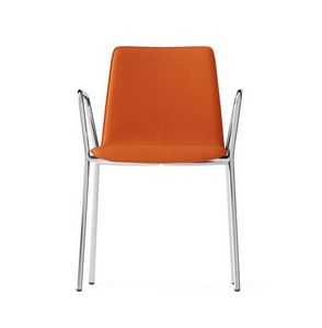 CARPET, Gepolsterter Stuhl mit Armlehnen, 4 Beine verchromtem Rahmen