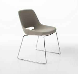 Clea Schlitten Basis, Stuhl mit Schlitten verchromt
