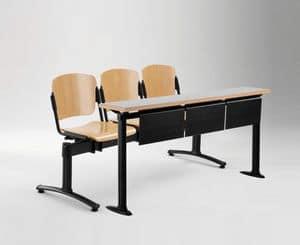 Cortina movable bench with school table, Bank mit Sitz und Rückenlehne aus Sperrholz, für die Universität