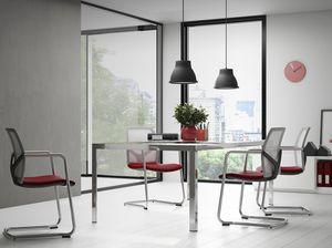 PASSPORT, Stapelbarer Stuhl, gepolsterter Sitz, Netzrücken, auf verchromtem Schlittenrahmen