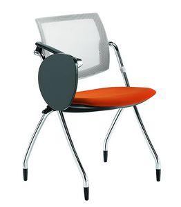 Q-Go RETE, Konferenzstuhl mit Schreibplatte, Netzrückenlehne