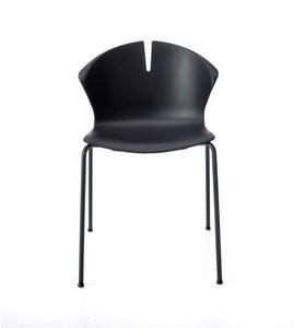 Red Hot 4 Beine, Stapelbarer Stuhl für die Gemeinschaft, mit Polypropylen-Schale