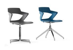 SHELL, Monocoque Stuhl aus Polypropylen, drehbar, Basis mit 4 Speichen