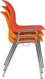 Vera, Stapelbarer Stuhl, platzsparend, mit Polypropylenschale