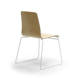 Zerosedici Wood sled, Stuhl mit Holzschale, Kufengestell