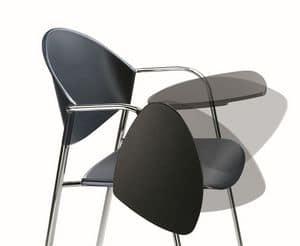 DELFI 085 TDX, Stuhl in Metallrahmen, Sitz in Polymer, mit Schreibtisch