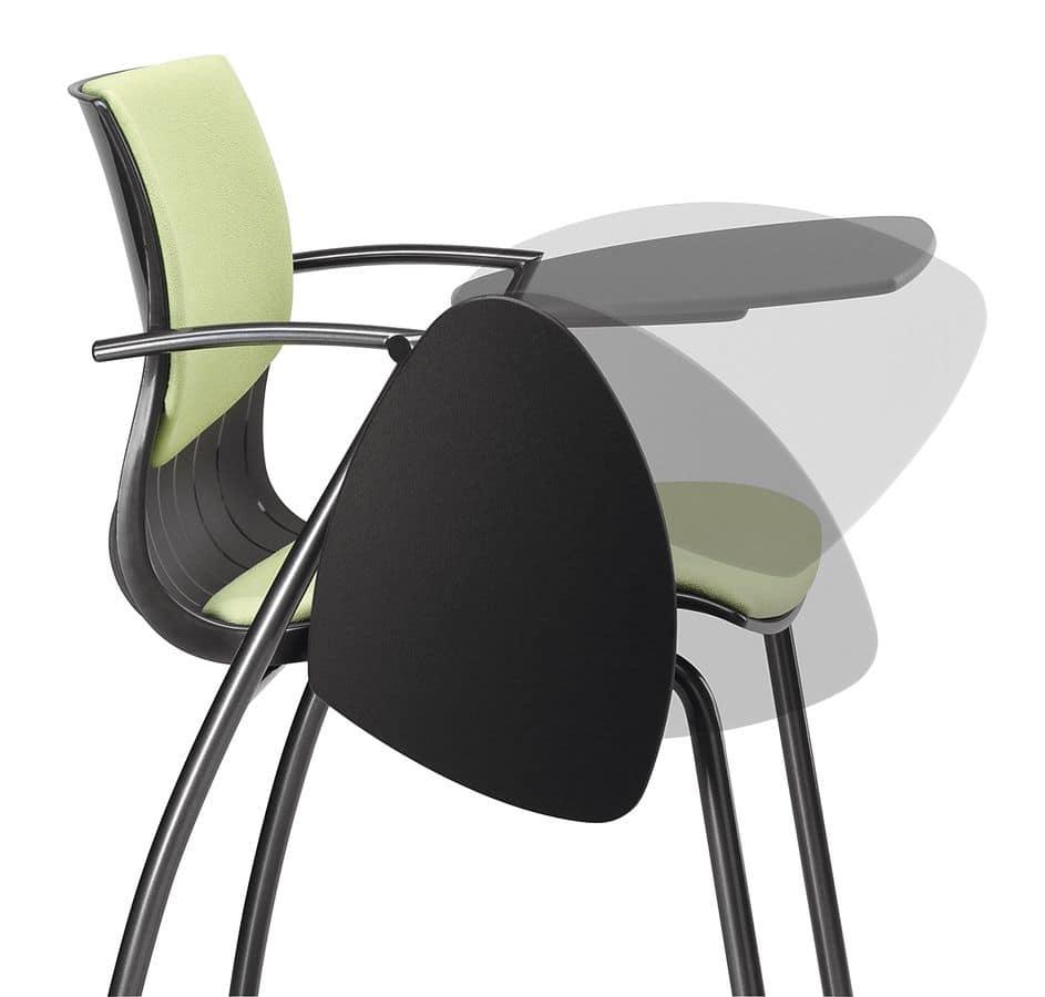 stuhl aus metall und nylon gepolstert mit schreibplatte idfdesign. Black Bedroom Furniture Sets. Home Design Ideas