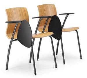 WEBWOOD 358 TDX, Stuhl aus Metall und Sperrholz, mit Schreibplatte