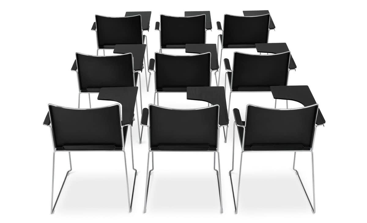 stuhl mit sockel aus stahlrohr mit schreibplatte idfdesign. Black Bedroom Furniture Sets. Home Design Ideas